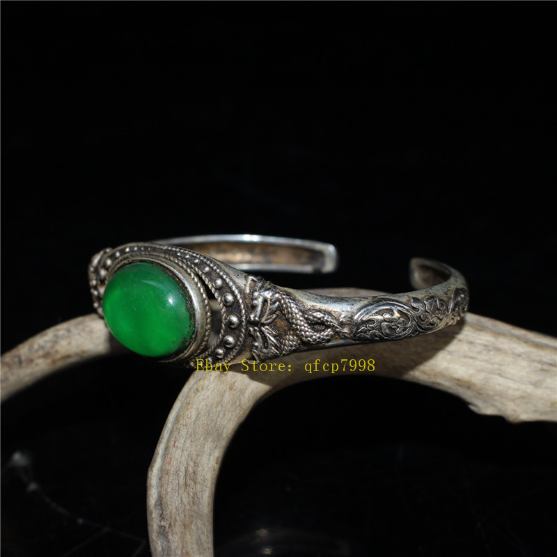 """9.06/"""" Collection Old Chinese Tibetan silver Handmade inlay green jade Bracelet"""