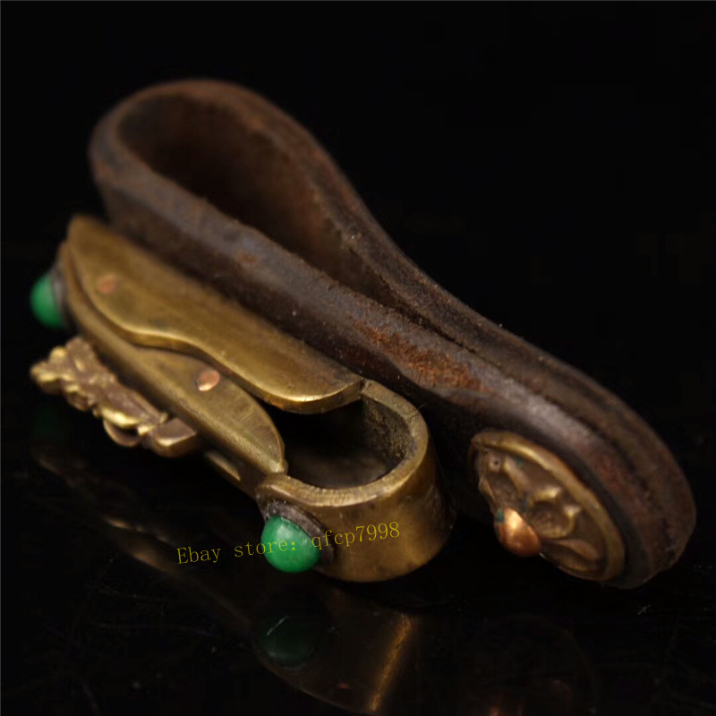 Collection Chinese pure copper gilt inlay gem Hand-made belt