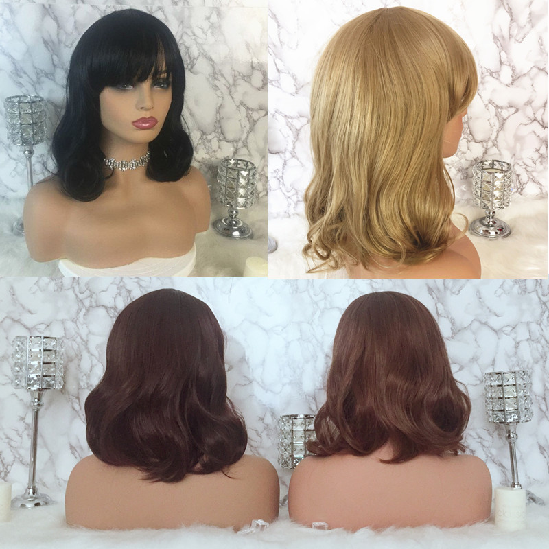 Details About Lady Medium Length Neat Bang Full Wig Wavy Curly Brown Black Hair Cosplay Wigs