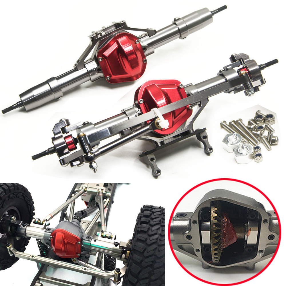 Complete Alloy Metal CNC Rear Axle For 1//10 RC SCX10 Honcho Jeep Crawler Car