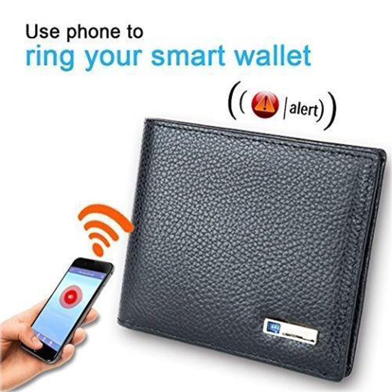 Leather Bluetooth Smart Wallet Anti Alarm Theft Lost Finder GPS Locator Tracker