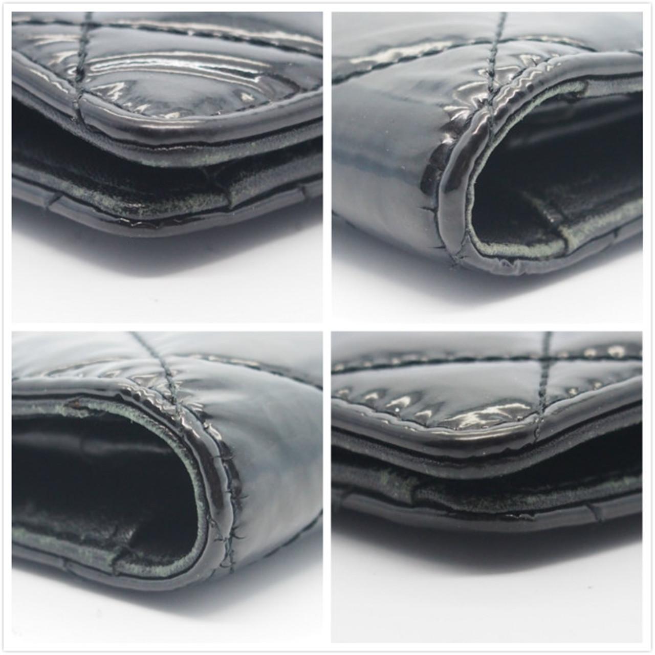 ec1a755ca69c Authentic CHANEL Black Quilted Patent Leather Brilliant L Yen Holder Wallet
