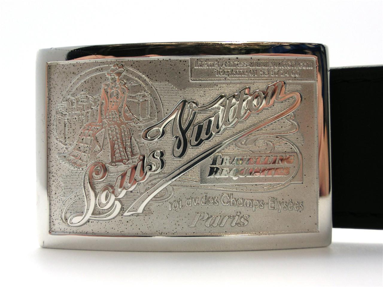 64d6c459c6cc Authentic LOUIS VUITTON Black Leather Travelling Requisites Belt ...