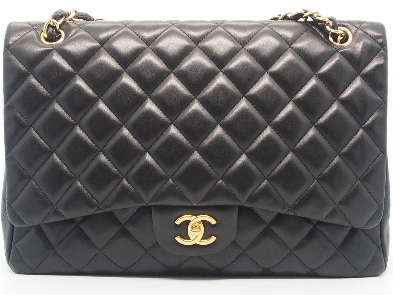 ddb4050a46c58 Authentic CHANEL Black Quilted Lambskin Leather Classic Maxi Single Flap Bag