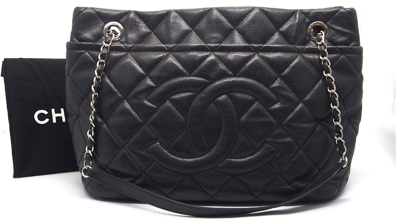 Authentic CHANEL Black Quilted Caviar Leather Timeless CC Soft Shopping Tote  Bag 43faec11633ab