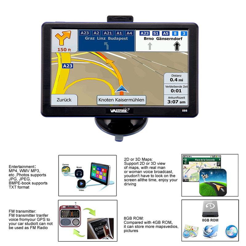 Map Australia 4371.Details About 7 8gb Gps Sat Nav Navigation System Bluetooth Av In Fm Free Au Eu Maps Updates
