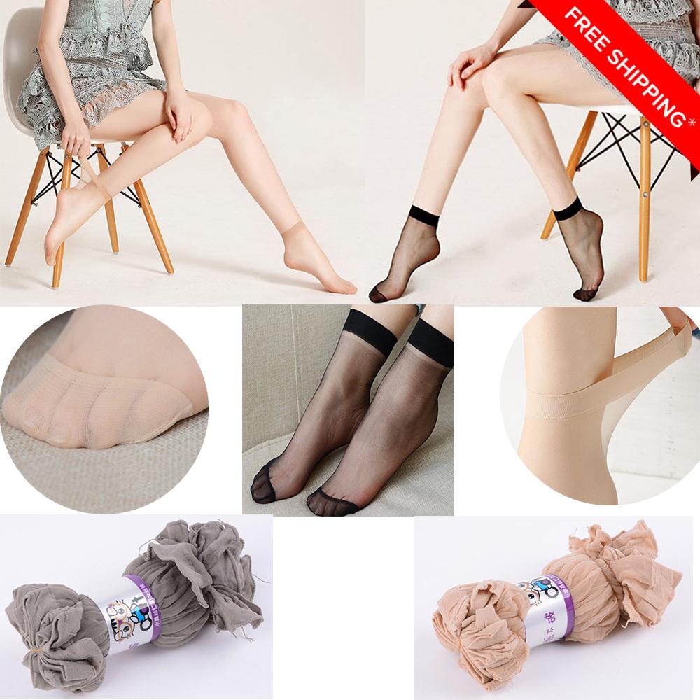 Mode Femmes Dentelle Chaussettes Cristal Soie Courte Transparent Mince Rose U7H9
