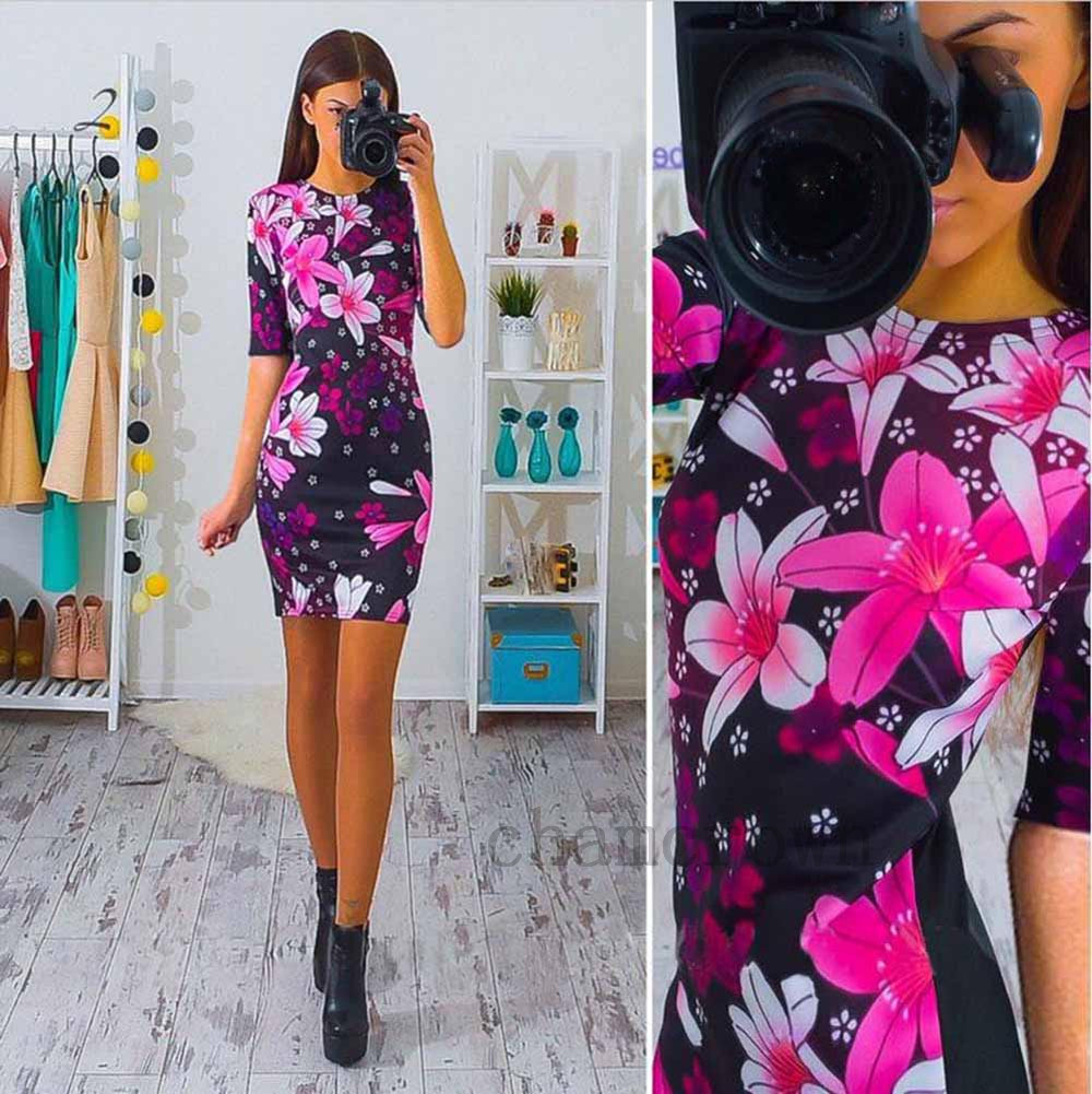 Damen Minikleid Sommer Bodycon Strandkleid Lang Shirt Tunika Kleider ...