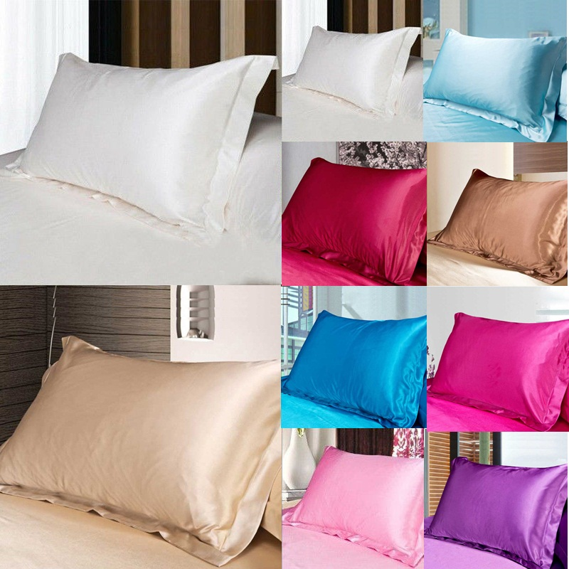 USA Smooth Solid Queen//Standard Silk~y Satin Pillow Case Bedding Pillowcase New