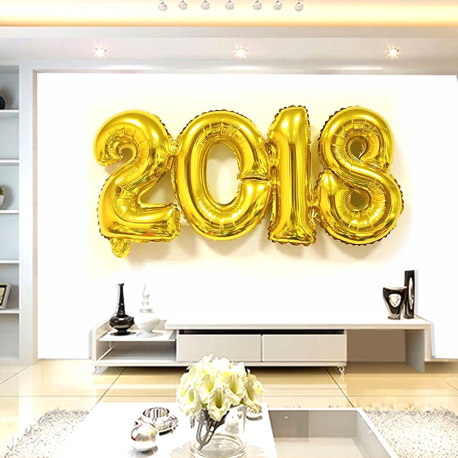 2018 New Year Number Foil Balloon Gold / Silver Party Decoration ...