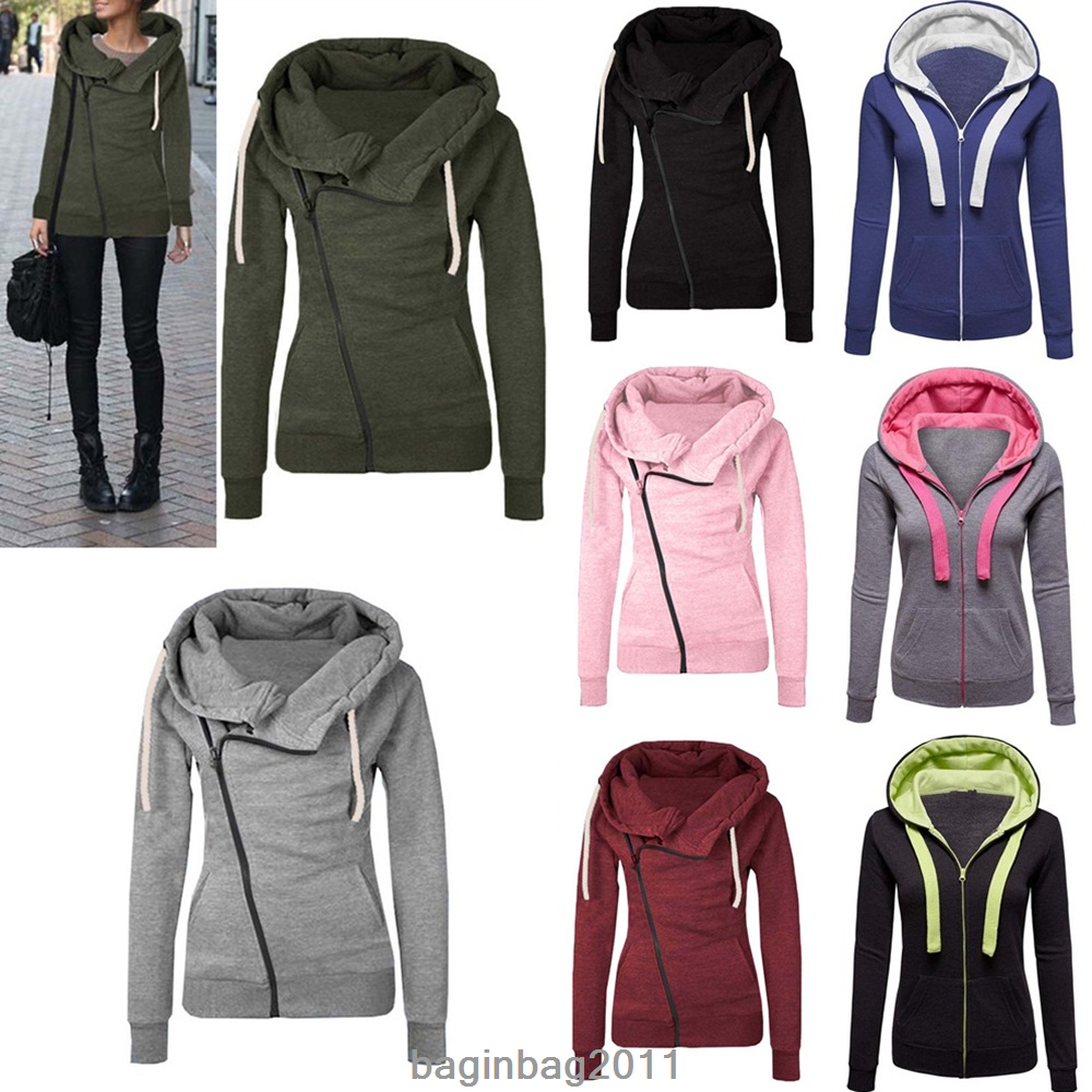 Damen Reißverschluss Sweatshirts Kapuzen Freizeit Rosa Jacke Mantel Winterjacke