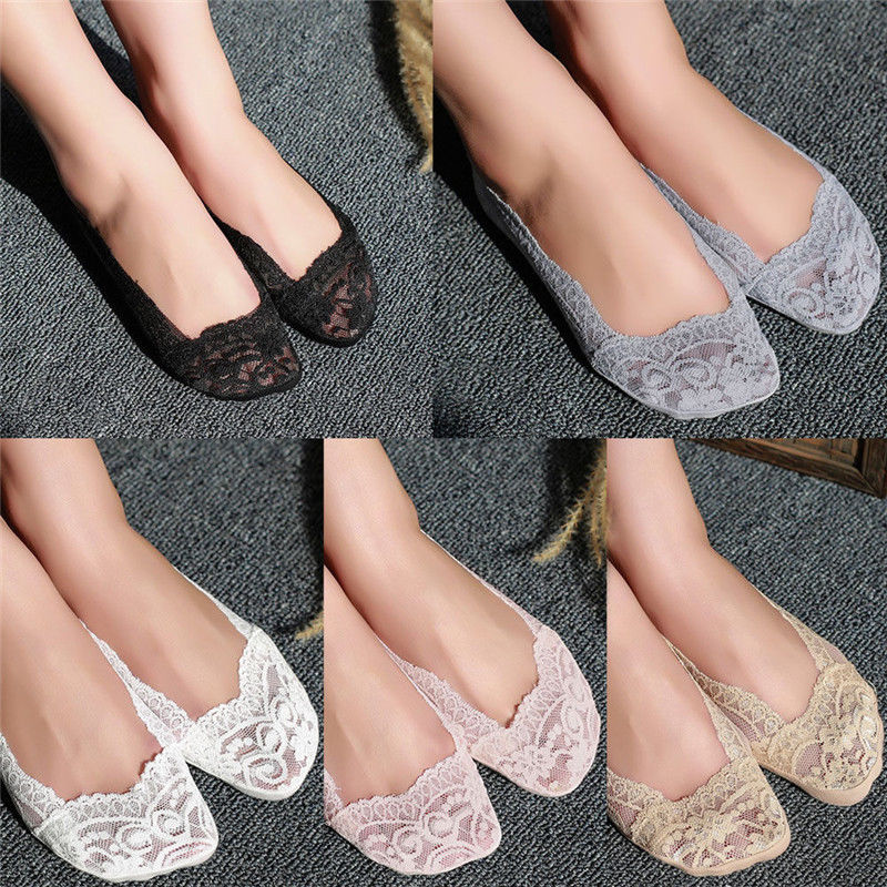 1//5 Pairs Ladies Skin Shoe Liners Footsies Invisible Thin Lace Socks Sheer Women