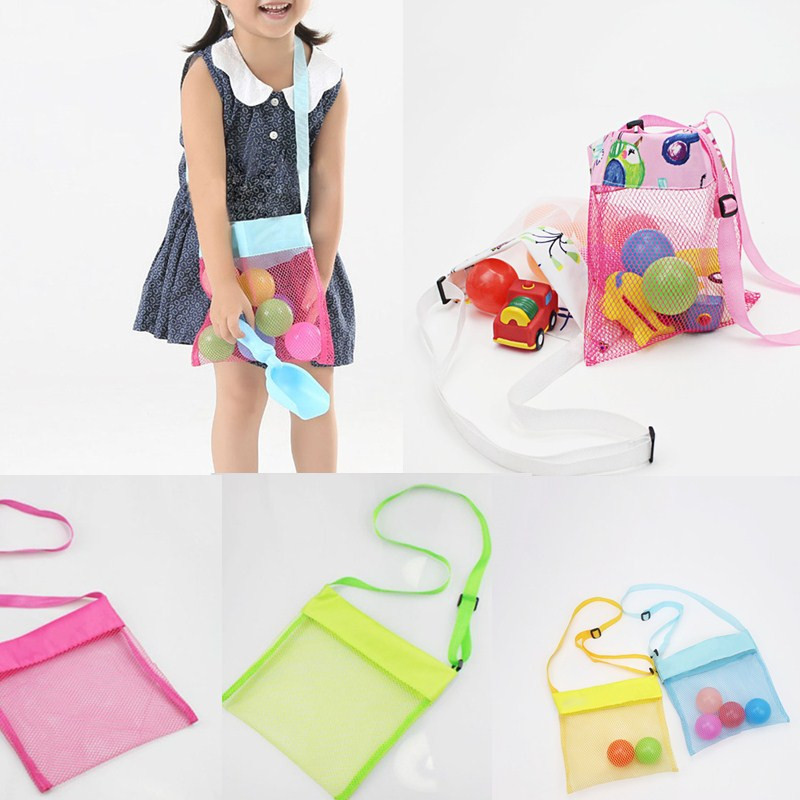 Children/'s Mesh Shoulder Bag Storage Bag Crossbody Beach Shell Cute Solid Color