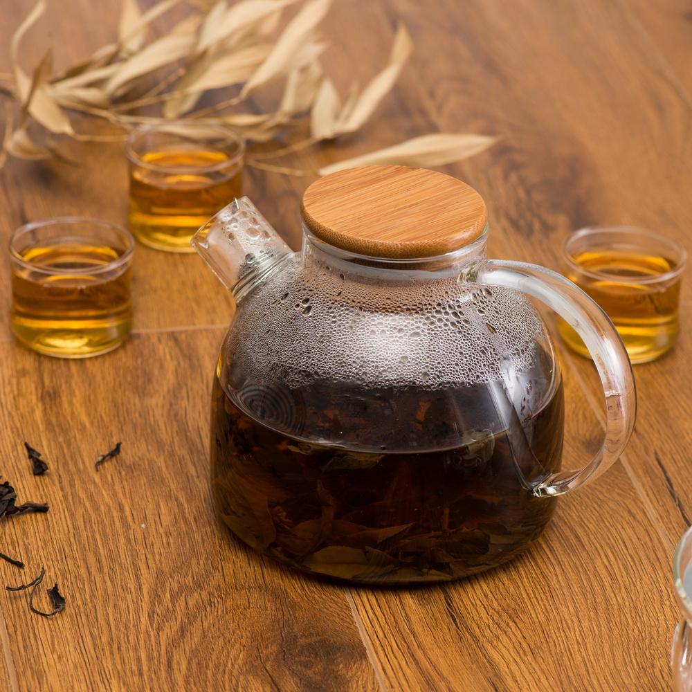 T/é botella/ /Botella de cristal con colador de t/é de doble pared Tea to go Maker con tapa de bamb/ú 450/ml sin BPA Tead esigner plata /Tetera de t/é de cristal/