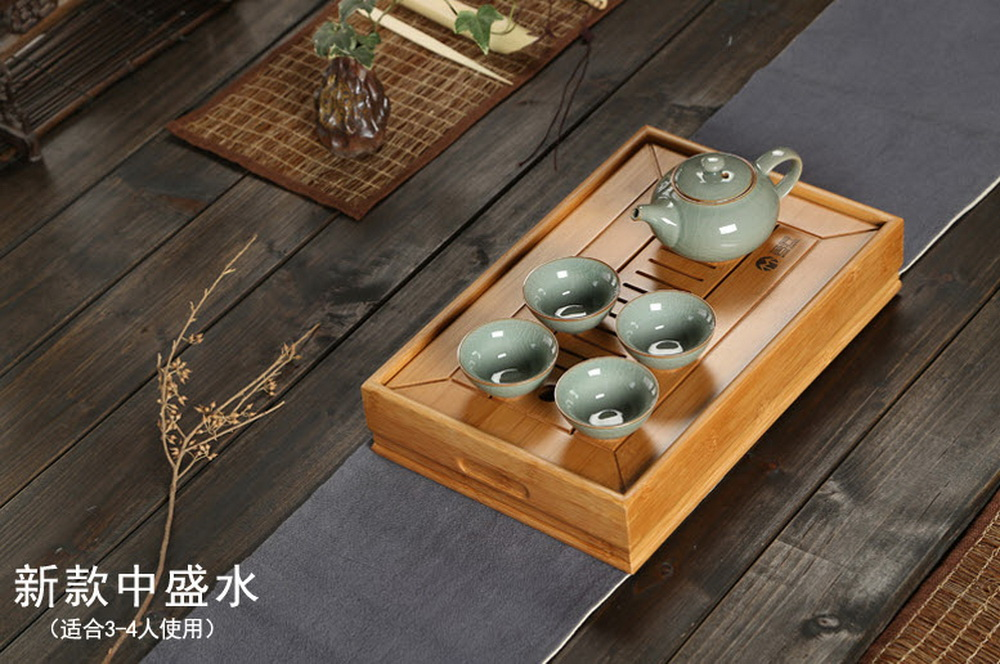 Bamboo Chinese Gongfu Tea Ceremony Table Serving Tray W T