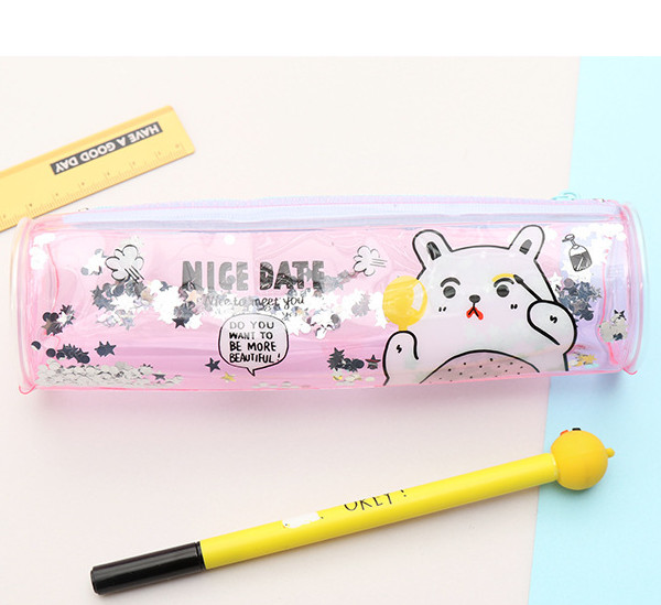 Transparent round pencil case glitter kawaii stationery pouch zipper resntentobalflowflowcomponenttechnicalissues gumiabroncs Images