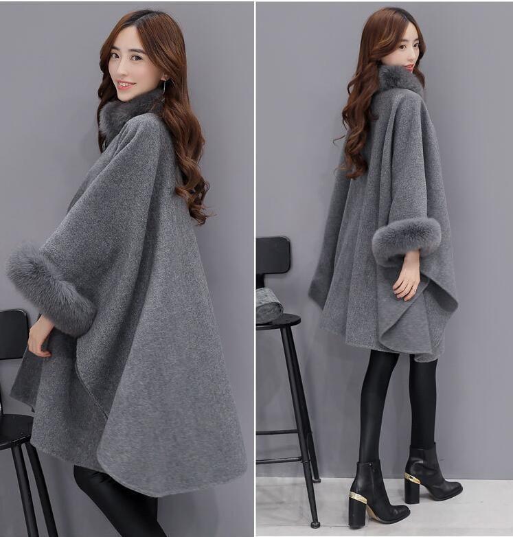 Gery Fur Trench Collar Hoody Sjal Coat Kvinder Fox Jakke Piger Outwear f4CwqwX