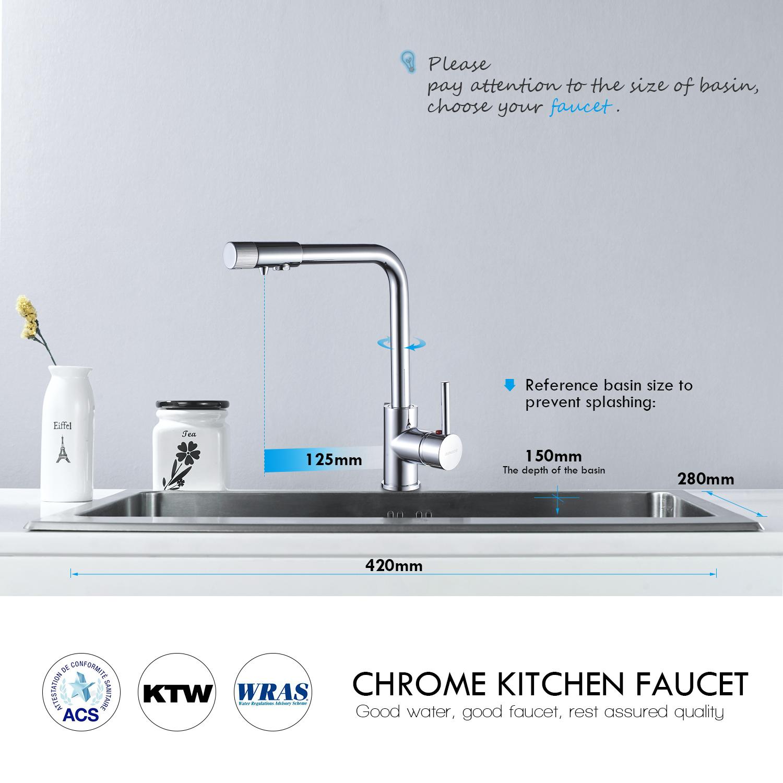 360° Küchenarmatur Wasserfilter Wasserhahn Einhandmischer ...