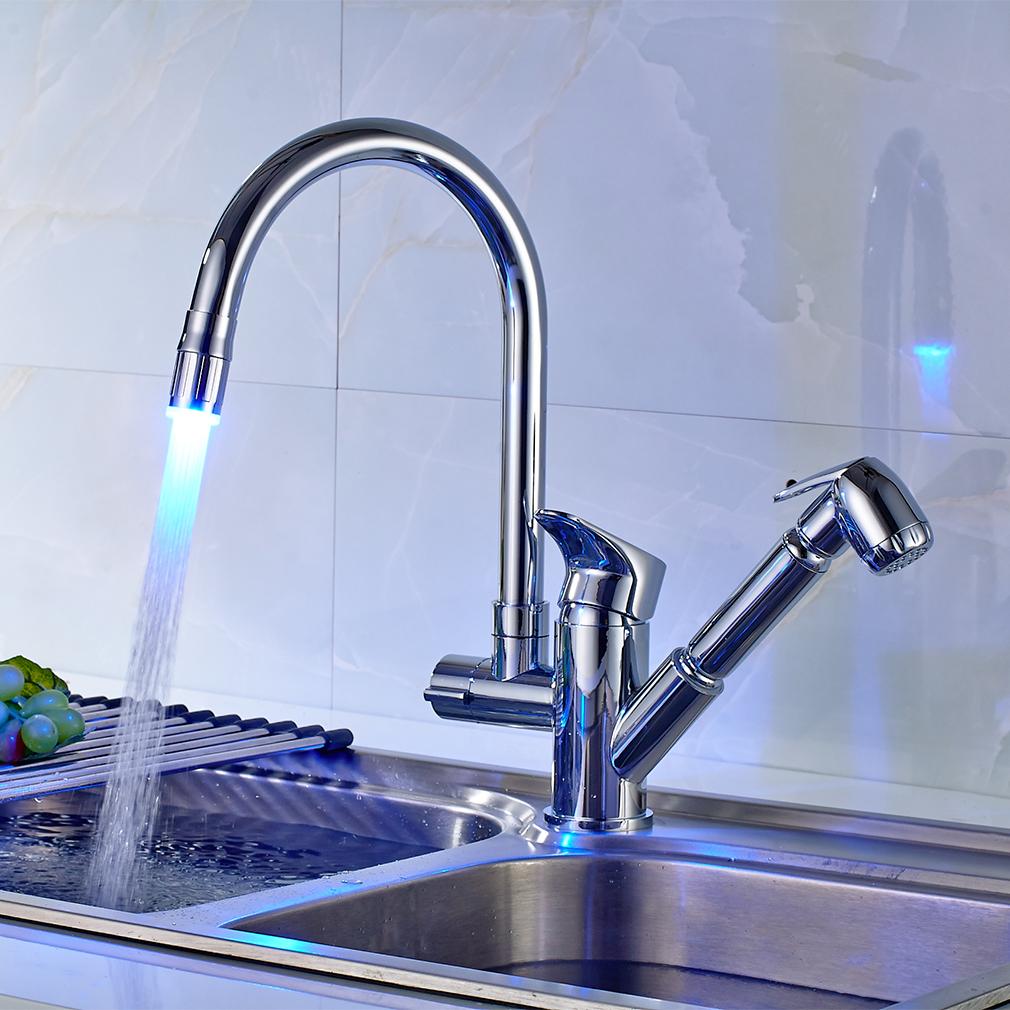 LED Wasserhahn Ausziehbar Küchenarmatur Brause Spültischarmatur ...