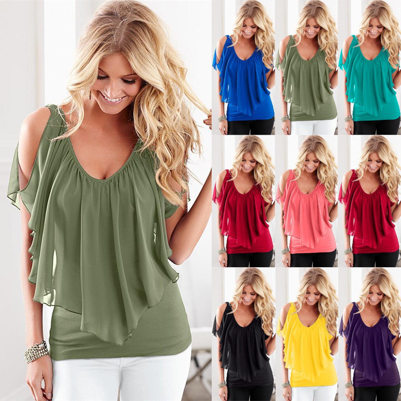 Womens Summer Off Shoulder Lace Ladies T Shirt Beach Tops Blouse Plus Size 6-20