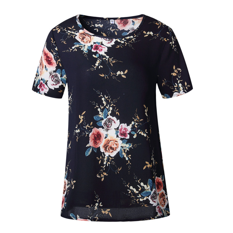 Uk Summer Womens Casual Tops Blouse Short Sleeve Crew Neck Floral T