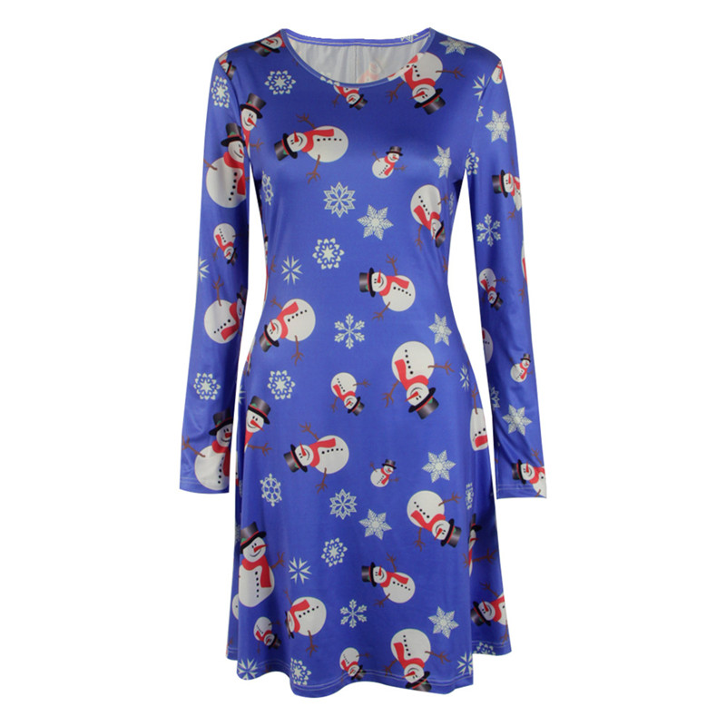 UK Womens Christmas Snowman Dress Ladies Xmas Santa Mini Smock Dress Size 6-22