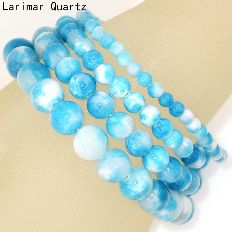 Handmade Natural 4 mm 6 mm 8 mm 10 mm Opalite Gemstone Beads Stretch Bracelet