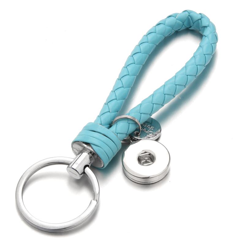 2017 1pcs Key Chain for 18mm noosa button snap charm square Lake Blue