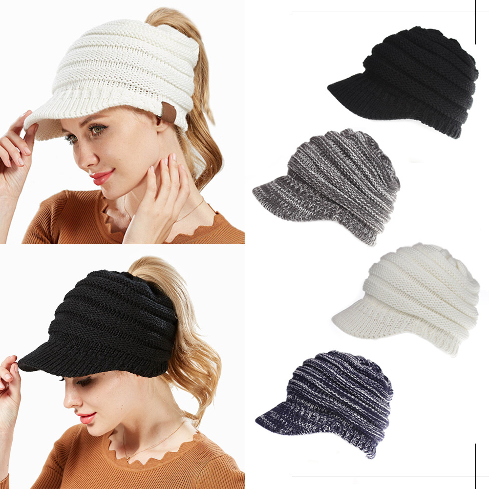 Details About Women Knitted Woolly Crochet Chunky Cable Visor Brim Winter Hat Beanie Warm Men