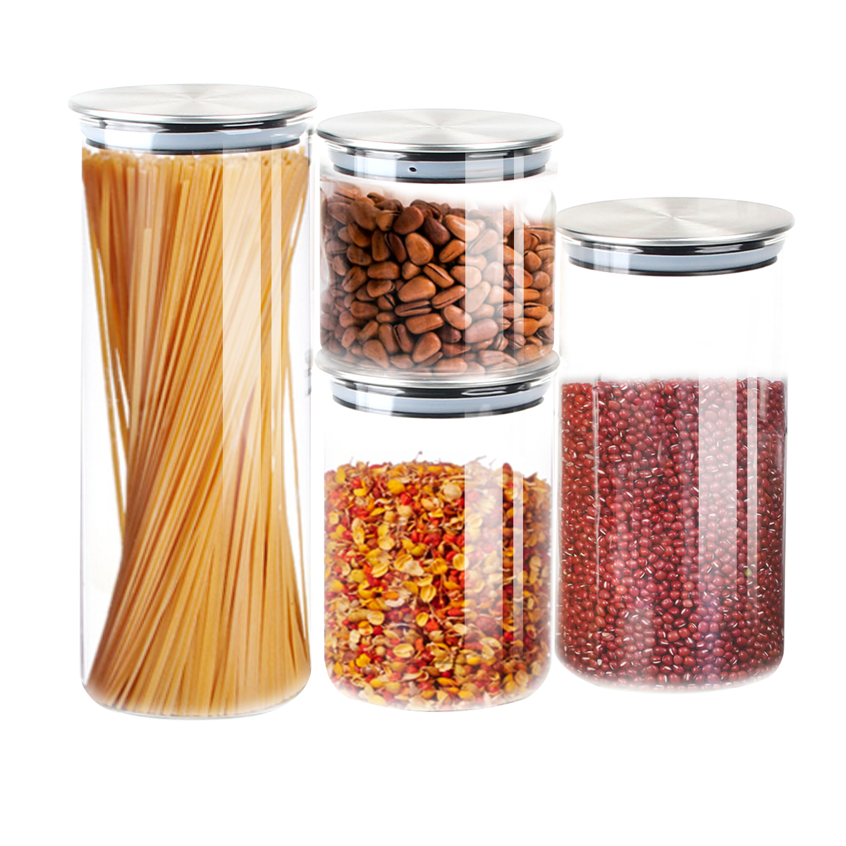 Details about 4 Pcs Glass Kitchen Heat Resistant Food Storage Container Set  Cereal Storage Jar