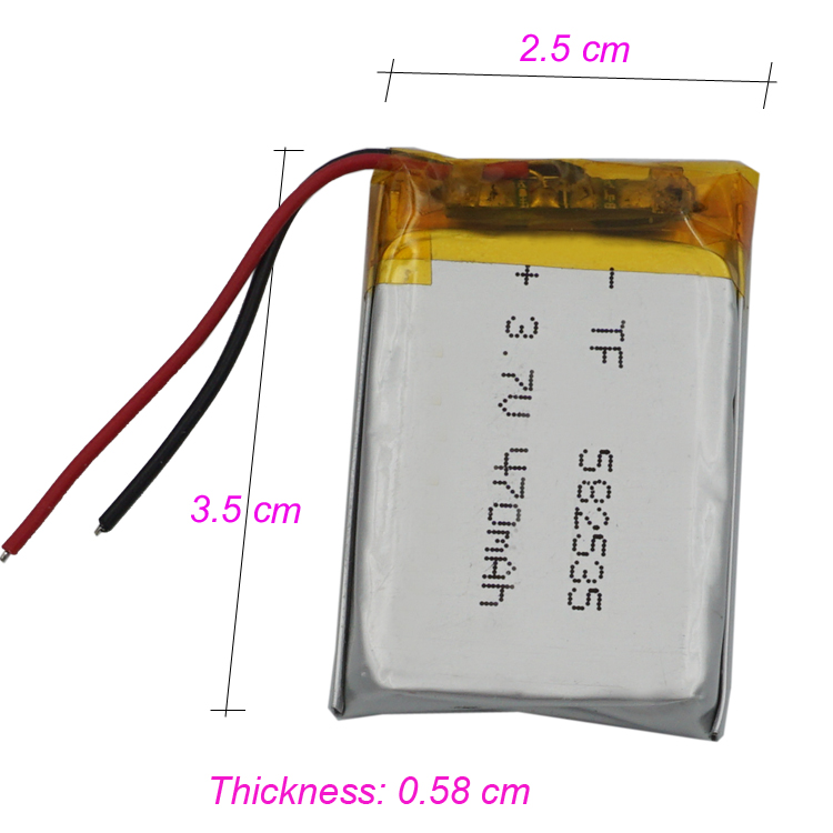 3 7v 470 Mah Polymer Rechargeable Li Battery For Mp4 Mp3