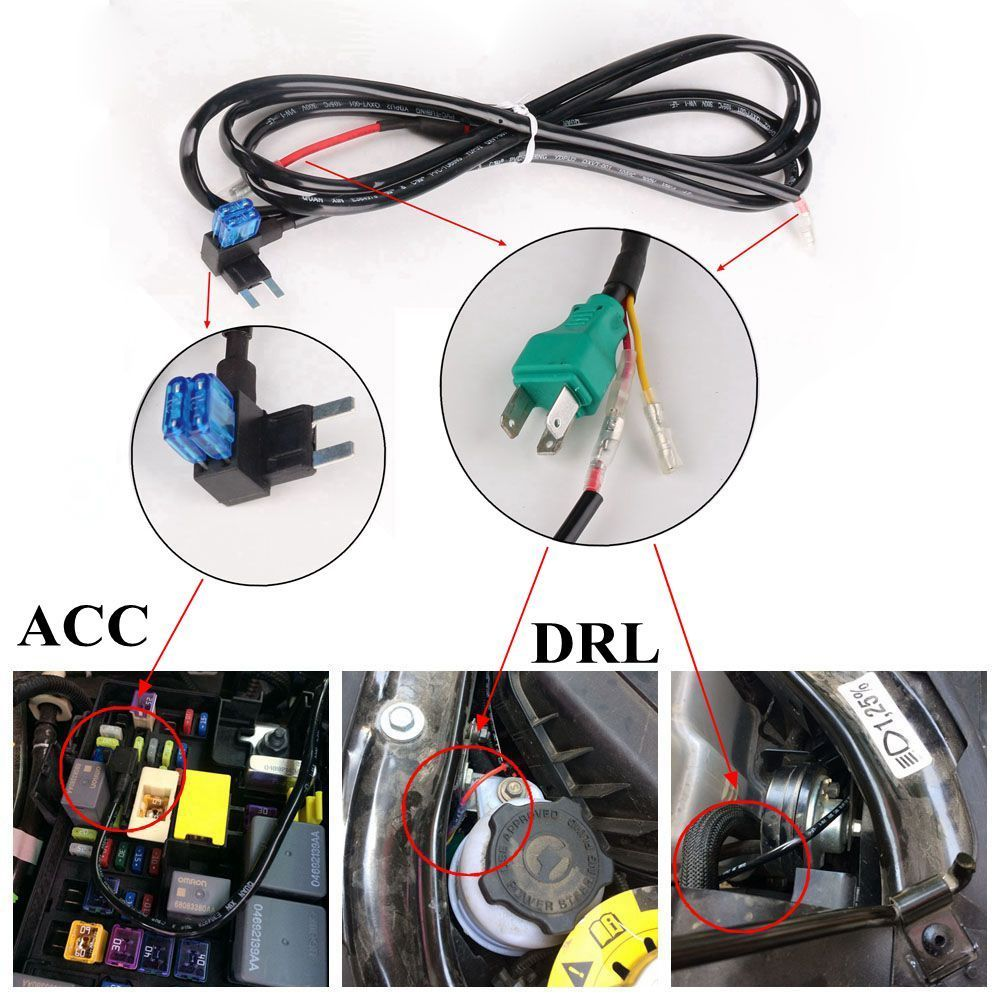 7 U201c Led Headlight Drl Extension Wiring Harness For Jeep