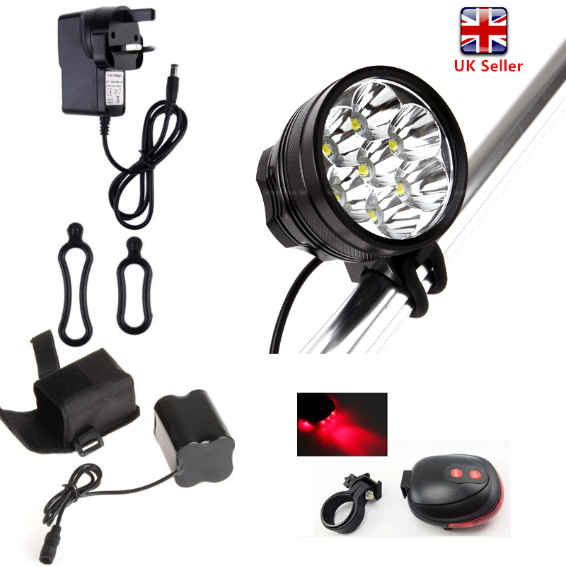 7 LED XML T6 9800LM Mountain Bike Bicycle Front Light HeadLamp Torch Rear Laser