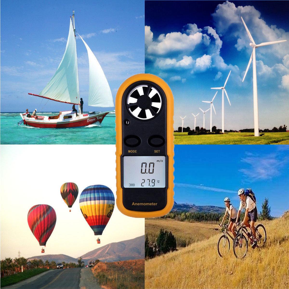 Anemómetro de mano CE aprobado Digital Termómetro Medidor de Velocidad Vela LC rlts