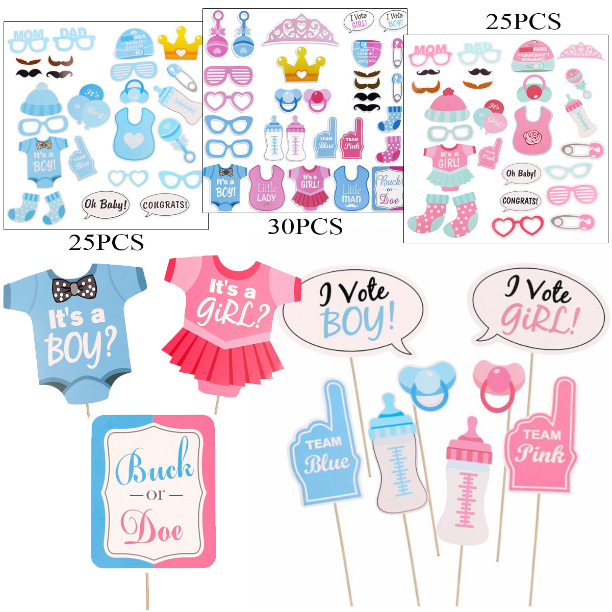25 30pcs Baby Shower Photo Booth Props Boy Girl New Born Party
