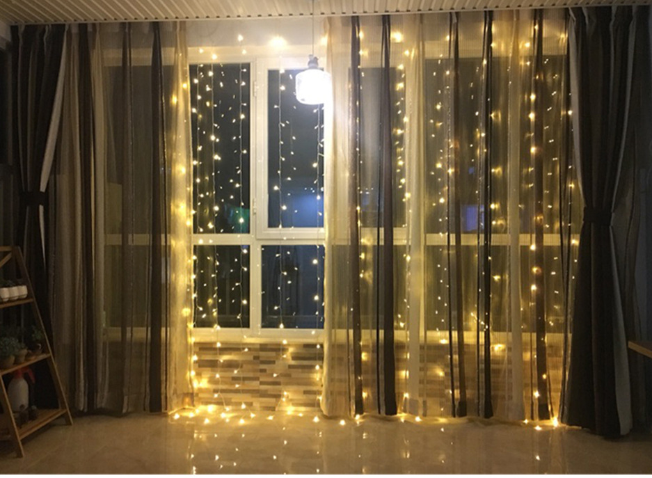 Details About 3m 300led Warm White String Light Curtain Fairy Window Xmas Party Garden Wedding