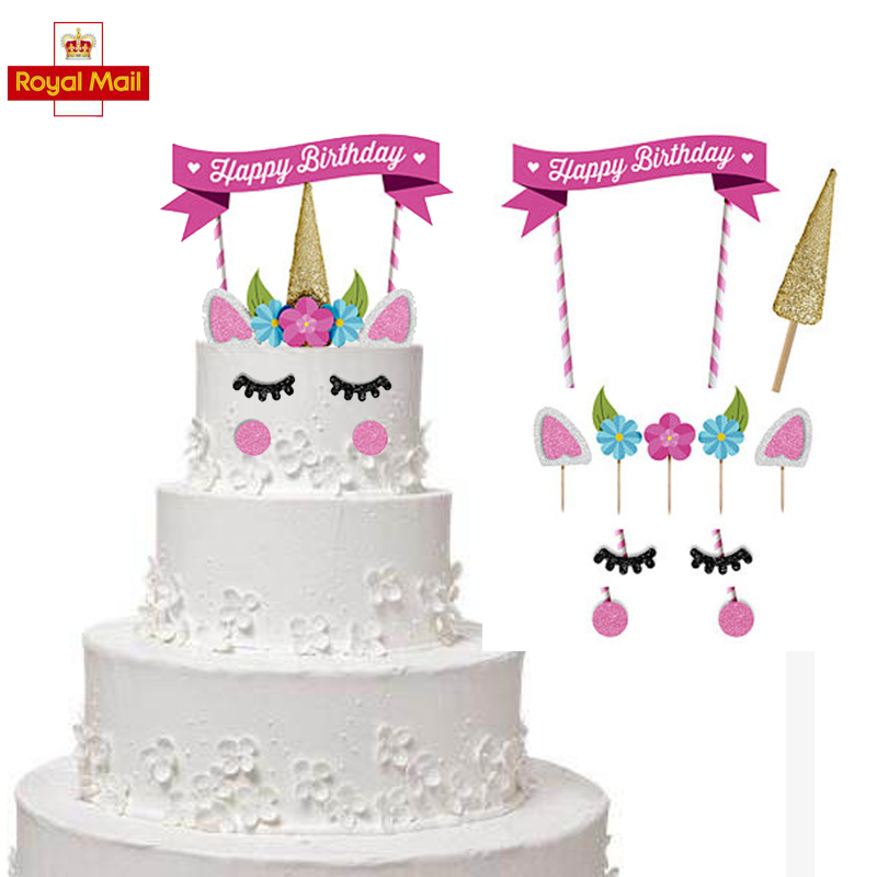 Strange Glitter Unicorn Horn Happy Birthday Cake Topper Banner Decoration Funny Birthday Cards Online Eattedamsfinfo