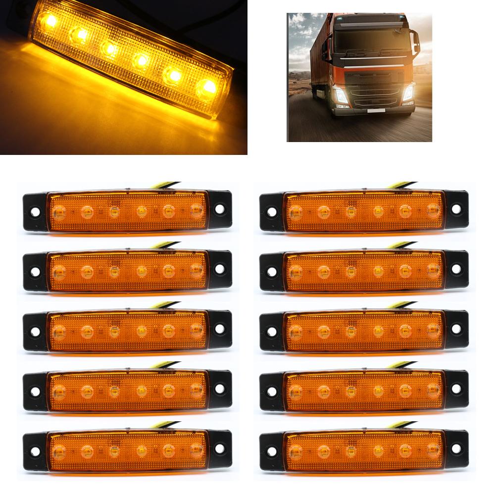 12V 3LED Amber Front Side Marker Indicator Light Orange Truck Trailer Lamp