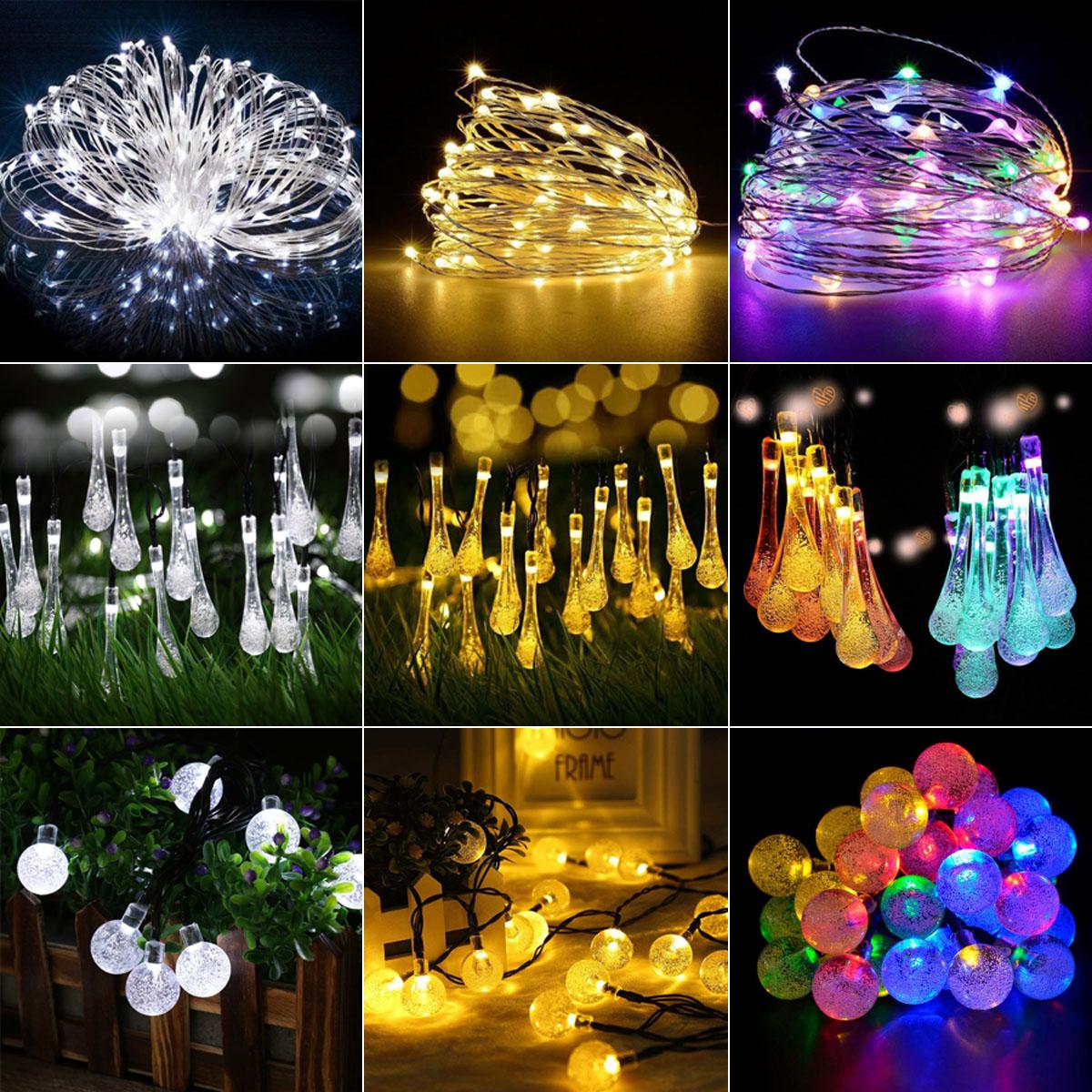 2M 20LED Solar Power Fairy String Light Outdoor Garden Party Xmas Lamp White DE