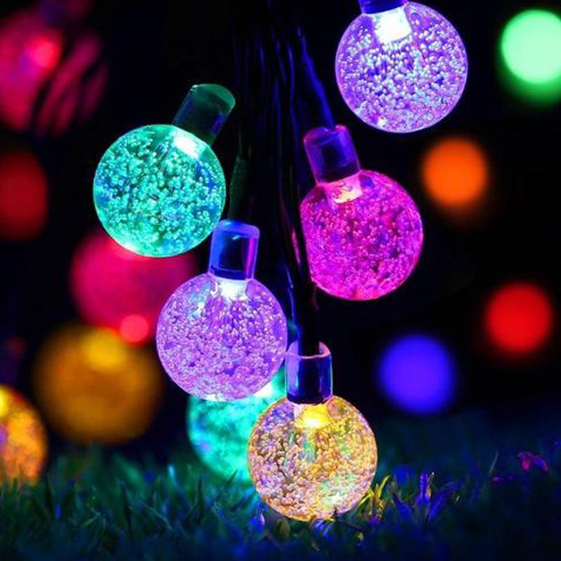 Solar FAIRY stringa luci a LED Cristallo Rotondo A Palla per Albero di Natale Festa Decorazione