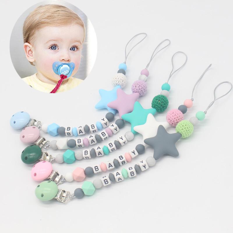 Royaume-Uni Bébé Dummy Clip Holder Sucette Clips dentition silicone PERLES SUCETTES Chaînes