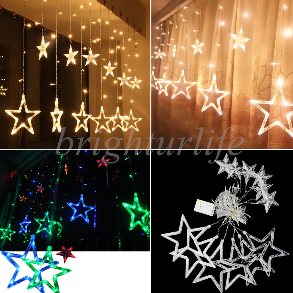 Twinkling stars christmas fairy string lights window for White twinkle christmas lights