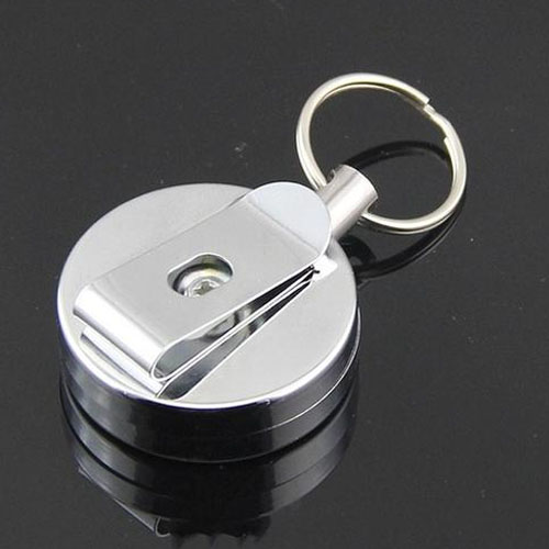 2 x Retractable Key Chain Recoil Security Keyring Stainless Steel Pull Ring UK S