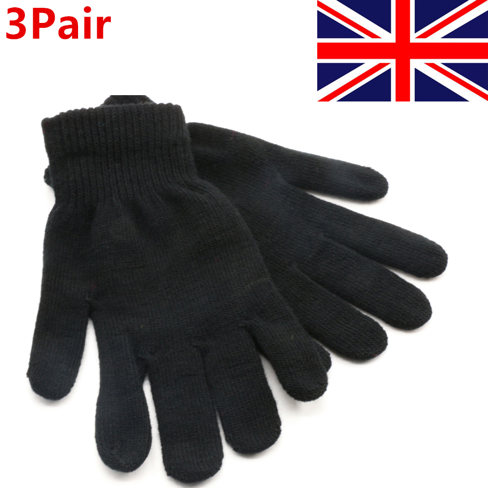 3 pairs mens womens black magic warm stretch winter thermal gloves