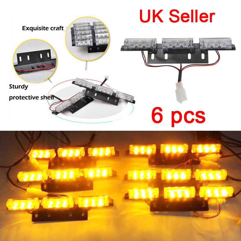 6 Led Bars Amber Car Flashing Lighting Grille Recovery