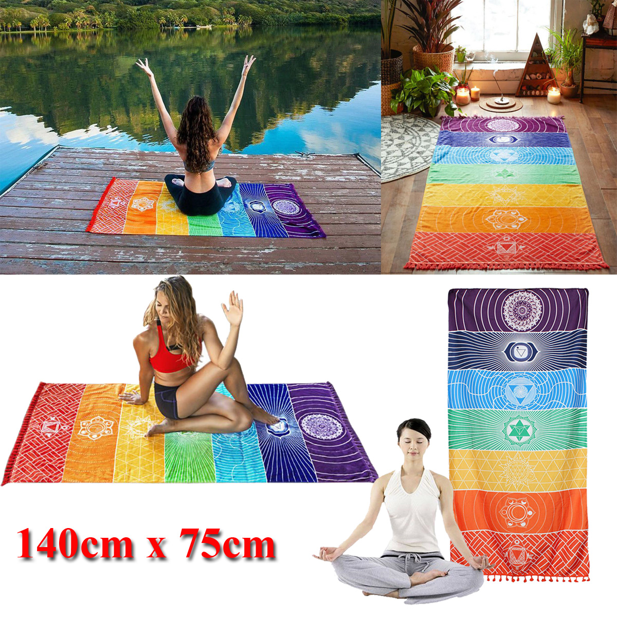 Rainbow Chakra Tapestry Beach Yoga Mat Sunscreen Shawl Tapestry Hippy Boho Gypsy