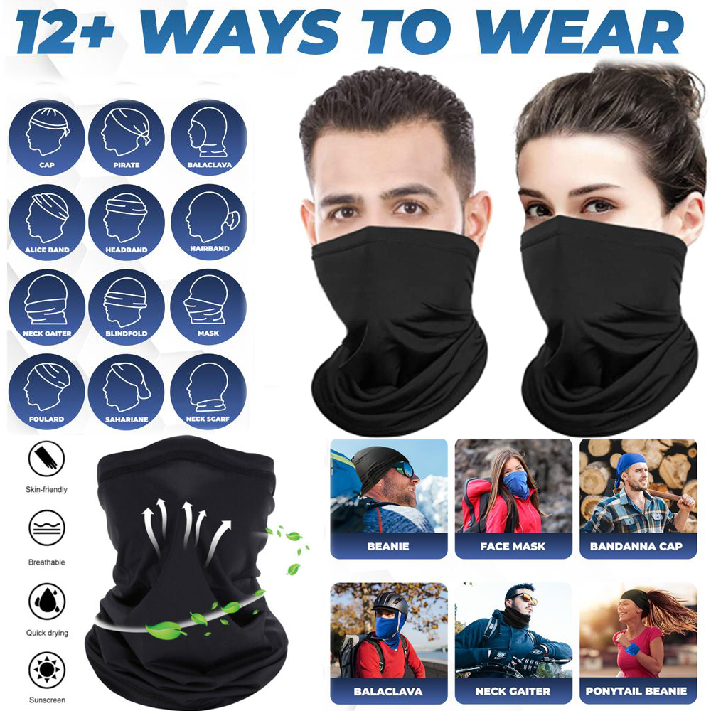 Bandana Face Mask Cooling Cover Breathable Scarf Neck Gaiter Headband Reusable
