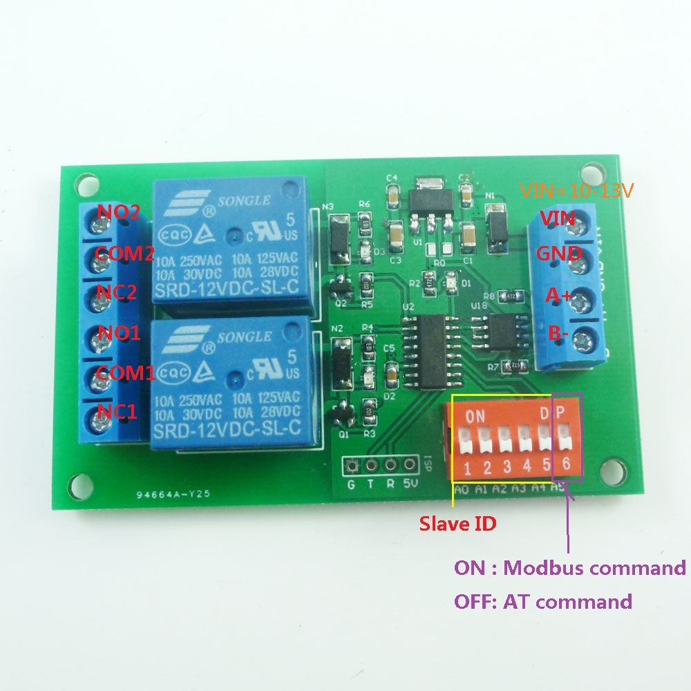 Modbus Rtu At Command 2ch Rs485 Relay Plc Controller Uart Serial Wiring Methods Port Switch