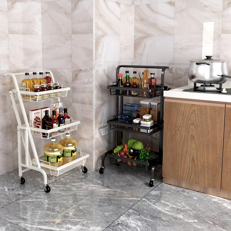 Grey Storage Shelf 3-Tier Rolling Utility Cart