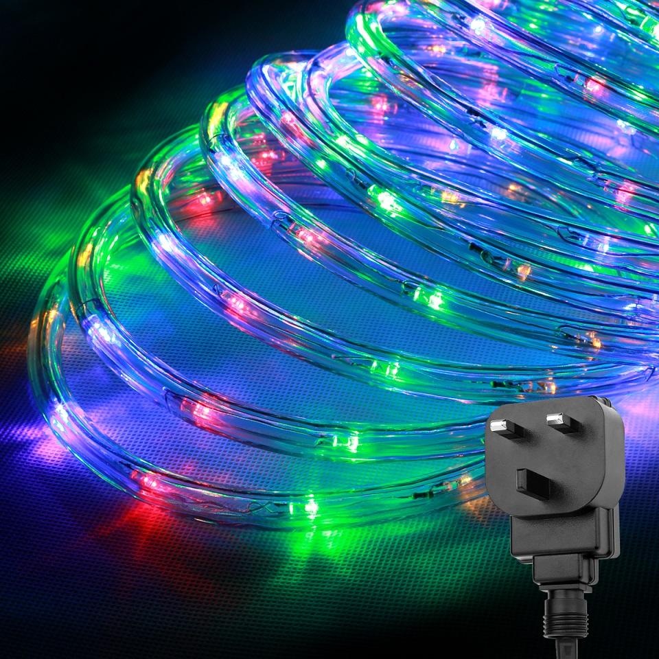 LE 10M LED RGBY Rope Tube Fairy Light+UK plug,Multi-color Lamp,CE,GS ...